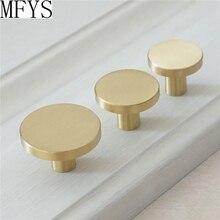 1 1.1 1.25 Brass Simple Cabinet Knob Handle Round Dresser Knobs Gold Drawer Pulls Kitchen Cupboard