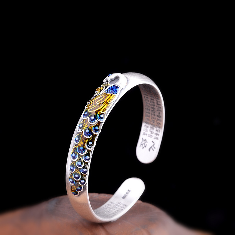 Guaranteed 999 Sterling Silver Bangles For Women Peacock Engraved Vintage Enameling Cuff Bracelets Fine Jewelry