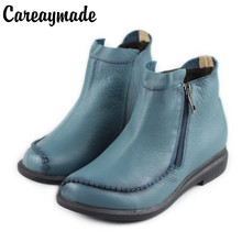 Careaymade-Women Mori girl retro art boots,Spring/autumn head layer cowhide short boots,Handmade genuine leather boots,2colors
