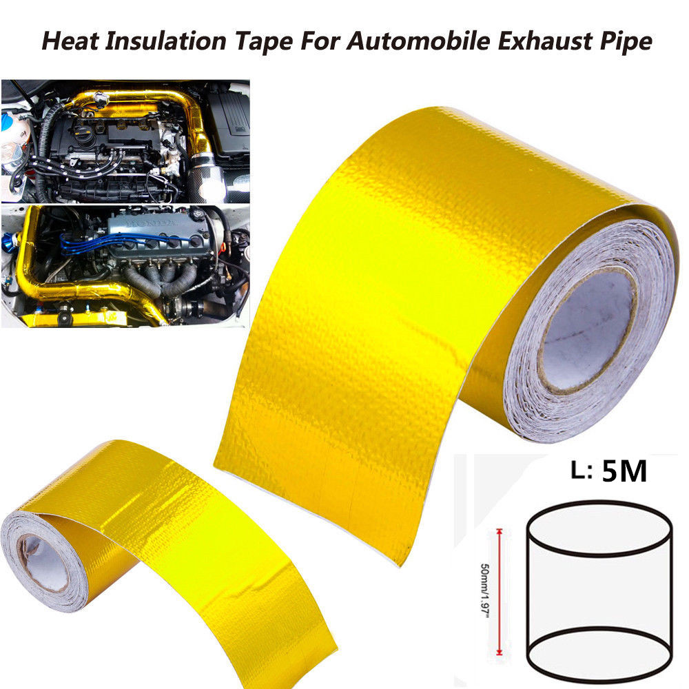 5M Car Auto Motorcycle Refit Thermal Insulation Band Engine Exhaust Pipe Heat Intake Wrap Roll Shield Protection Decorative Tape