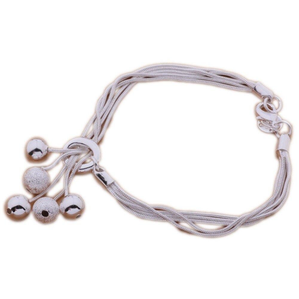 Fashion Silver Plated Jewelry Light Sand Bead Bracelet Bangles Fine Jewelry BL-0400-SV