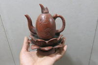 Old Chinese Handcraft Enameled YiXing Zi Sha Clay (Purple stoneware) Teapot ,lotus flower,with mark,Free shipping