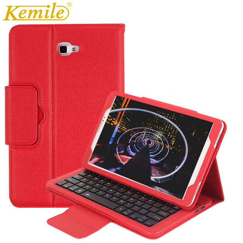 Kemile Removable Wireless Bluetooth Keyboard Portfolio Leather Stand Cover for Samsung Galaxy Tab A 10.1 T580 T585 Case Tablet detachable official removable original metal keyboard station stand case cover