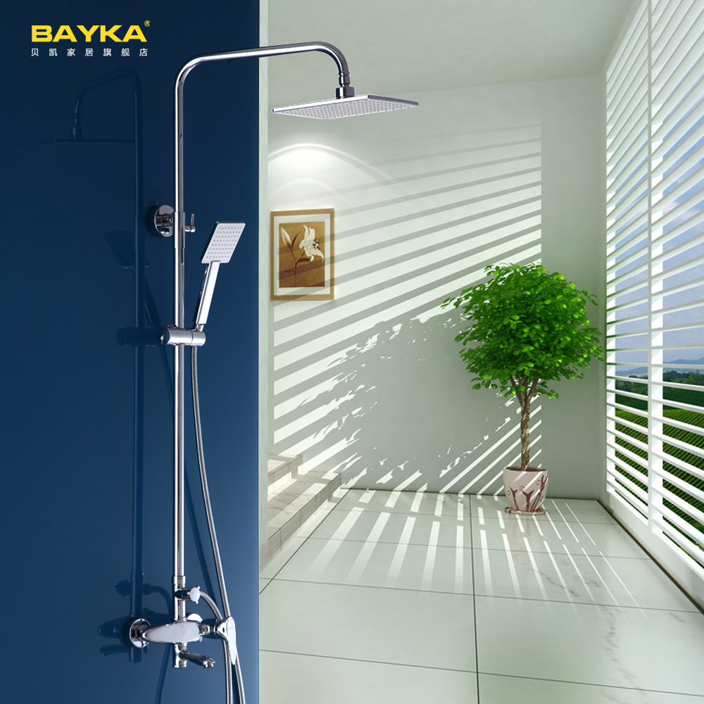 Bathroom Shower Set Brass Chrome Wall Mounted Shower Faucet 8 Shower Head Water Saving Nozzle Aerator High Pressure Shower Set