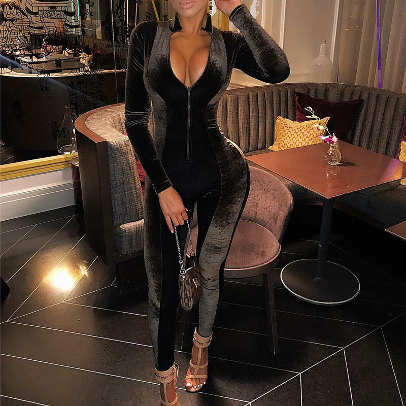 Womens Velvet Sexy Bodycon Bodysuits Long Sleeve Jumpsuit Autumn Winter Overalls Casual One Piece Rompers Female Party Playsuit