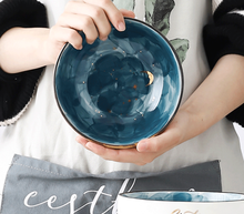 Creative Handmade Ceramic Salad Breakfast Bowl Tableware Kitchen Large-scale Instant Noodles Soup Bowl Restaurant Home LF361 5 6 8 inch japanese cherry blossom ceramic ramen bowl large instant noodle rice soup salad bowl container porcelain tableware