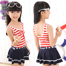 Children Swimwear Girls Swimsuit One Pieces Swim Skirt Suits Kids Bathing Suits Navy Style Striped Swimsuits For Girls 2-12Years