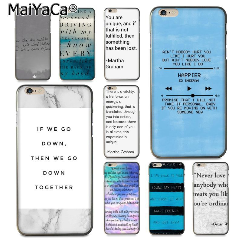 MaiYaCa Song Quotes lyrics Luxury High-end Protector phone Case for Apple iPhone 8 7 6 6S Plus X 5 5S SE 5C Cover ...
