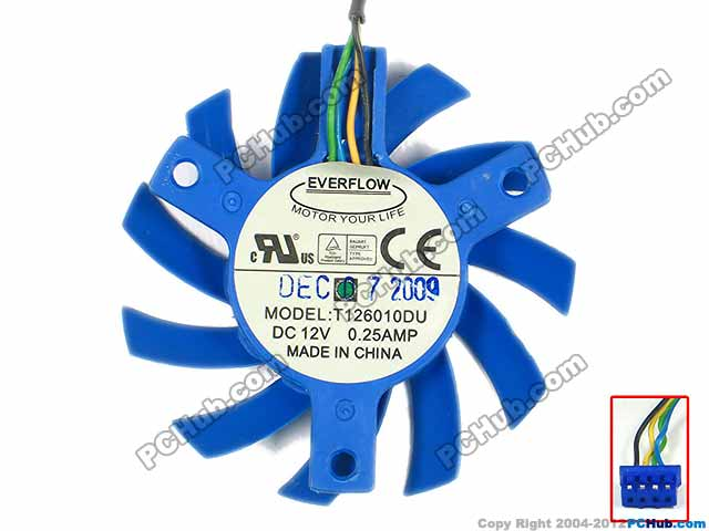 Emacro For Everflow T126010DU Server Round Fan DC 12V 0.25A Dia. 55x10mm 4-wire