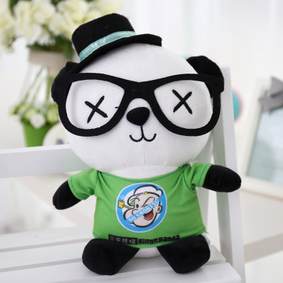 lovely panda in green 70cm plush toy glasses panda doll soft pillow, Christmas birthday gift x035 110cm cute panda plush toy panda doll big size pillow birthday gift high quality
