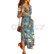 Floral Print Beach Dress Women 2019 Summer Boho Long Maxi Chiffon Dresses Sexy V-Neck Vintage Holiday Party Dress Robe Femme цена