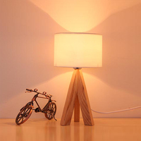 modern contracted creative fashion wooden bedroom desk lamp sweet bedside lamp solid wood lamp Log decoration lamp
