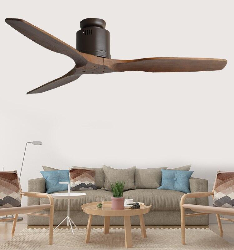 52Inch Wooden Ceiling Fan Wood with Remote Control Ceiling Fans Without Light Retro Fan Energy Saving Ventilador De Techo