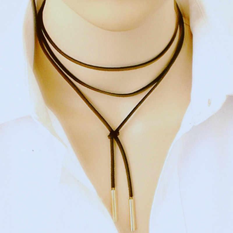 新しいファッション人格ジュエリーパンク風黒革の弓ネックdiyステートメントネックレス女の子ロングネックレスジュエリー卸売