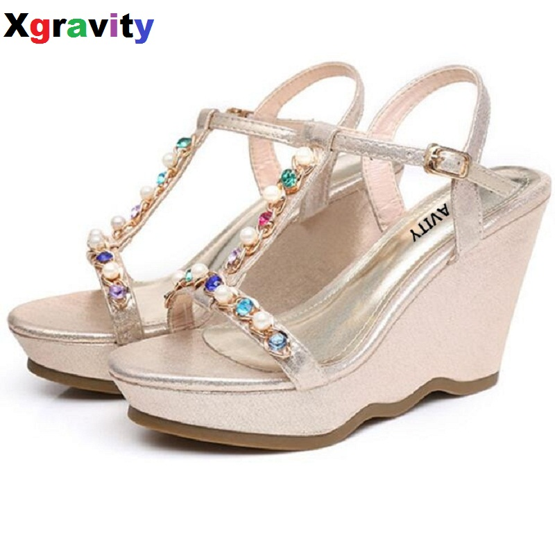Buckle Shoes Lady Fashion High Heel Platform Footwear Ladies Casual Gold T Strap Design Platform Pumps Summer Crystal Shoes B289 материнская плата asus h81m r с si socket 1150 h81 2xddr3 1xpci e 16x 1xpci e 1x 2xsata ii 2xsataiii matx