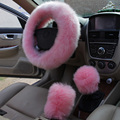 2016 Car Styling Winter Pink Black Plush Steering Wheel Cover Woolen Car Accessory 38cm Steering-wheel Cover