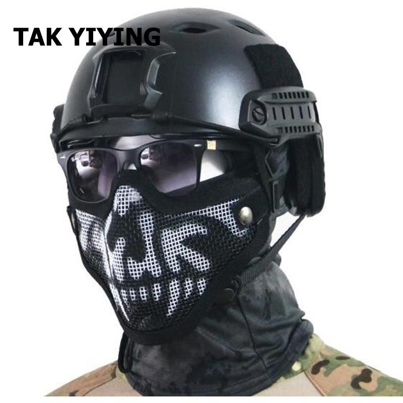 Prix pour TAK YIYING En Plein Air Tactique Airsoft Masque Casque Demi Face Inférieure Métal Acier Net Masque