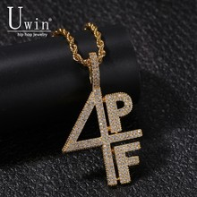 Uwin 4PF Pendant Cubic Zirconia Micro Paved Four Pockets Full LilBaby CZ Bling Iced Out Necklace For Men Jewelry