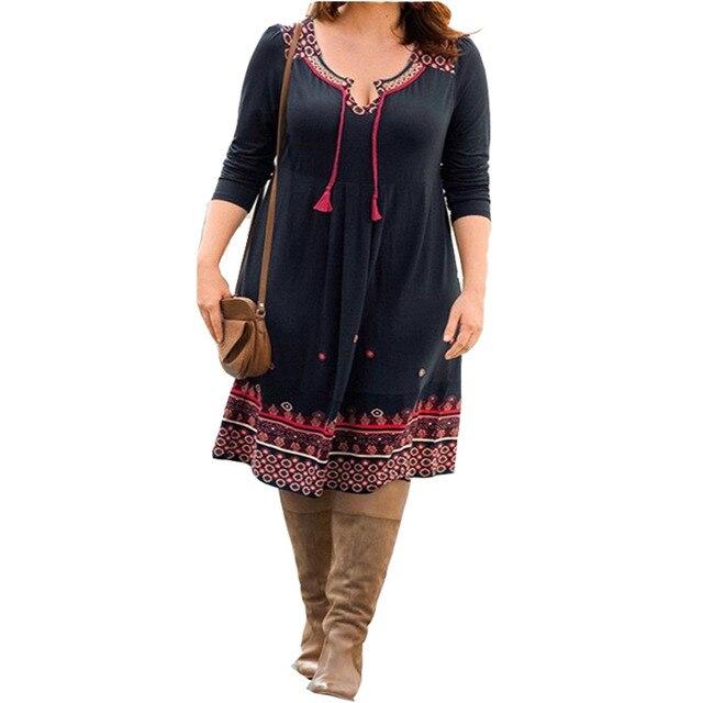 Plus Size 6XL Summer Floral Dress Women V Neck Office Vintage Dresses Long Sleeve Big Size 5XL Midi Robe Large Size 4XL