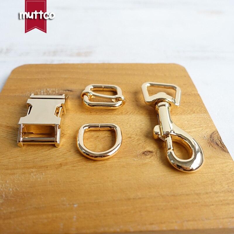 10 sets/partij (metalen gesp + passen gesp + D ring + metalen hond sluiting/set) golden 15mm DIY halsband leash set accessoire top kwaliteit-in Gespen & Haken van Huis & Tuin op  Groep 1