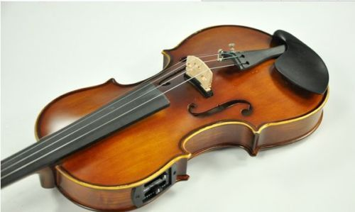 Handmade New Solid Maple Wood 4 Strings Electric / Acoustic Violin/Violino 4/4 With case bow rosin violin bow 4 4 high grade brazil wood ebony frog colored shell snake skin violino bow fiddle violin parts accessories bow