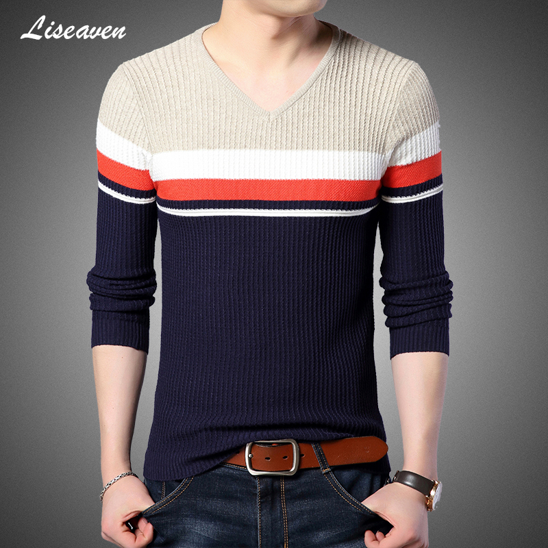 Liseaven Men V-Neck Pullover Sweaters 2019 New Arrival Sweater Mens Full Sleeve Tops Male Pullovers