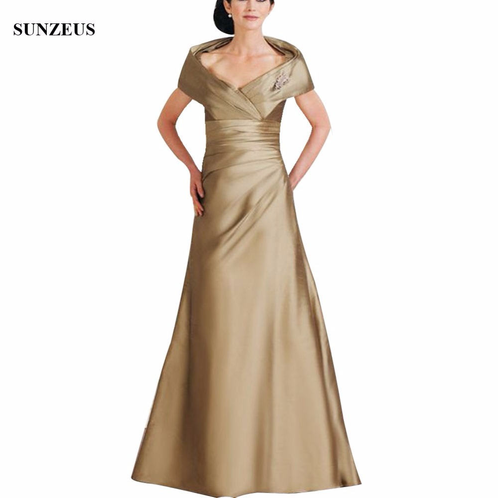 Wedding Gowns Mother Of The Bride: Floor Length Long Mother Of The Bride Dresses A Line Cap