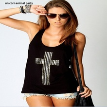fashion women summer harajuku t shirt Women Tops black white round neck hot cross drill T-shirt Leisure joker vest