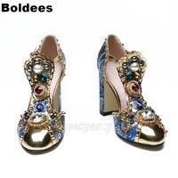 Мода Королевский суд дизайнер печатных Винтаж жемчуг Jewel дизайнер блок на высоком каблуке женские босоножки