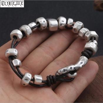 3D Hard 999 Silver Beaded Bracelet Leather Silver beaded Bracelet Vintage Style Man Bracelet Jewelry
