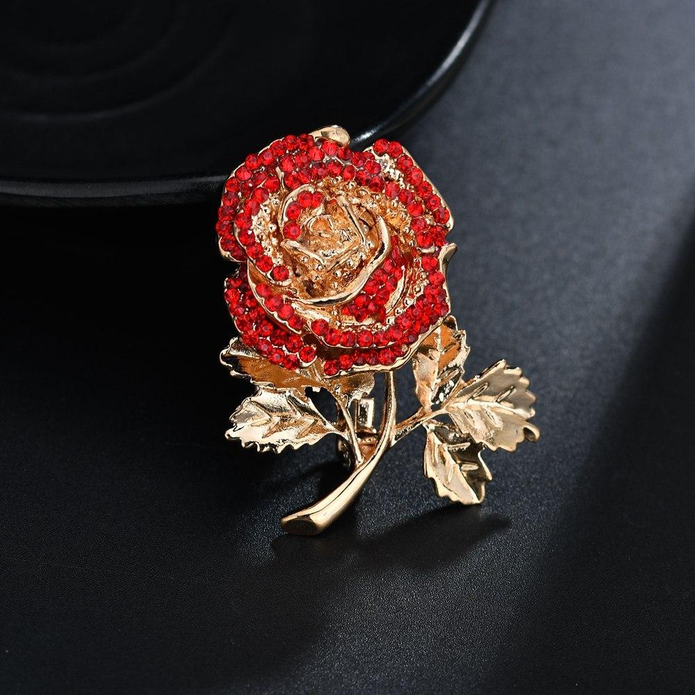 Terreau Кэти сплав красный и фиолетовый горный хрусталь Роза броши Для женщин модная металлическая завод эмаль Свадебная вечеринка Банкетный брошь