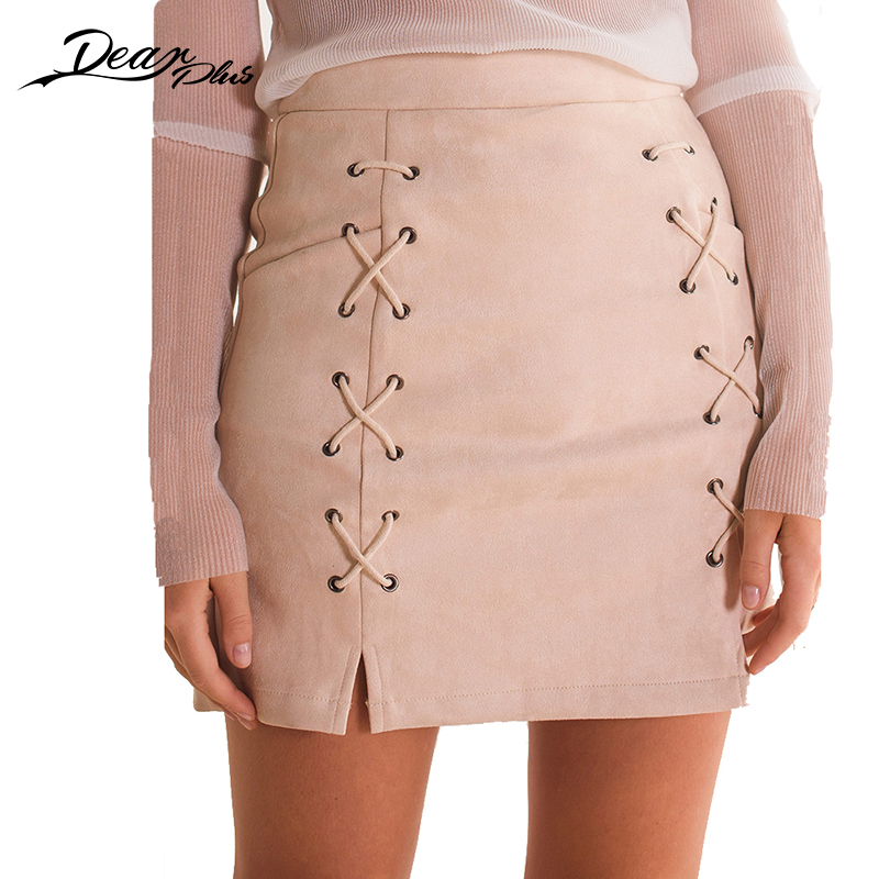 Women High Waist Tight Suede Lace Up Skirt Thick Pencil Skirt Preppy Mini Skirt Saias Na Altura Do Joelho Chamois Leather Skirts