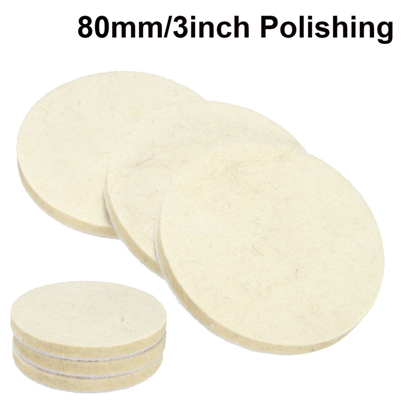3pcs/Set 75mm White Wool Polishing Pads For Variety Of Plane Polishing For Metal And Nonmetal Durable Quality