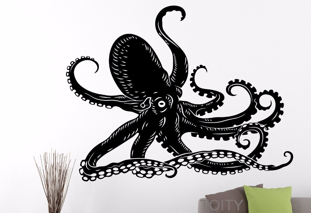 Octopus Sticker Tentacles Sprut Sea Ocean Animal Wall Art Vinyl Decal Home  Room Interior Decoration Black Poster Removable Mural In Wall Stickers From  Home ...