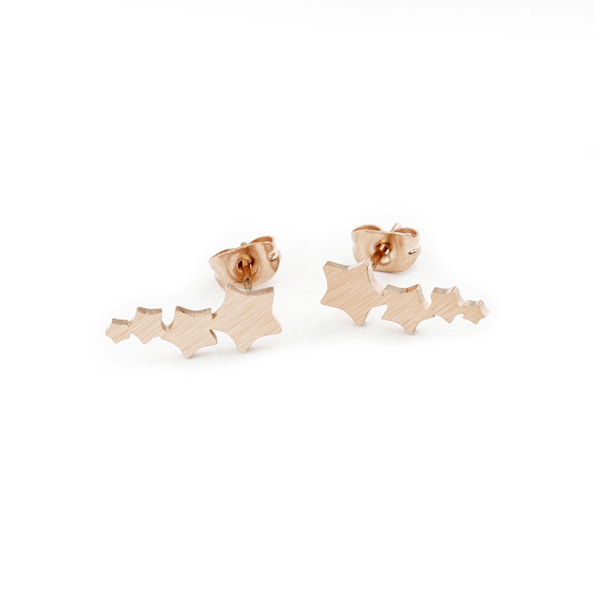 Stainless Steel Trendy Ear Crawlers For Women Star Stud Earrings Climber Rose Gold Silver Color Korean Style Jewelry Minimalist