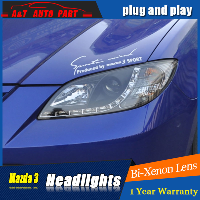 Auto part Style LED Head Lamp for Mazda 3 led headlights 2006-2012 for Mazda 3 drl H7 hid Bi-Xenon Lens angel eye low beam auto lighting style led head lamp for mazda 3 axe headlights for axela led angle eyes drl h7 hid bi xenon lens low beam