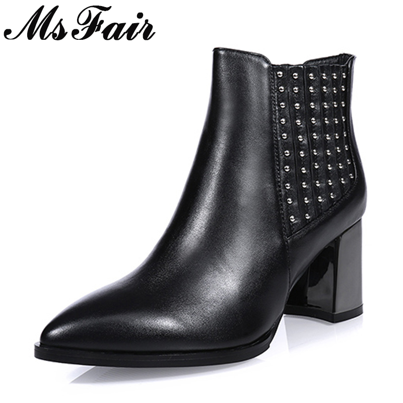 все цены на MsFair Pointed Toe High Heel Women Boots Genuine Leather Rivet Ankle Boot Women Shoes Winter Elegant Ankle Boots Shoes Woman онлайн