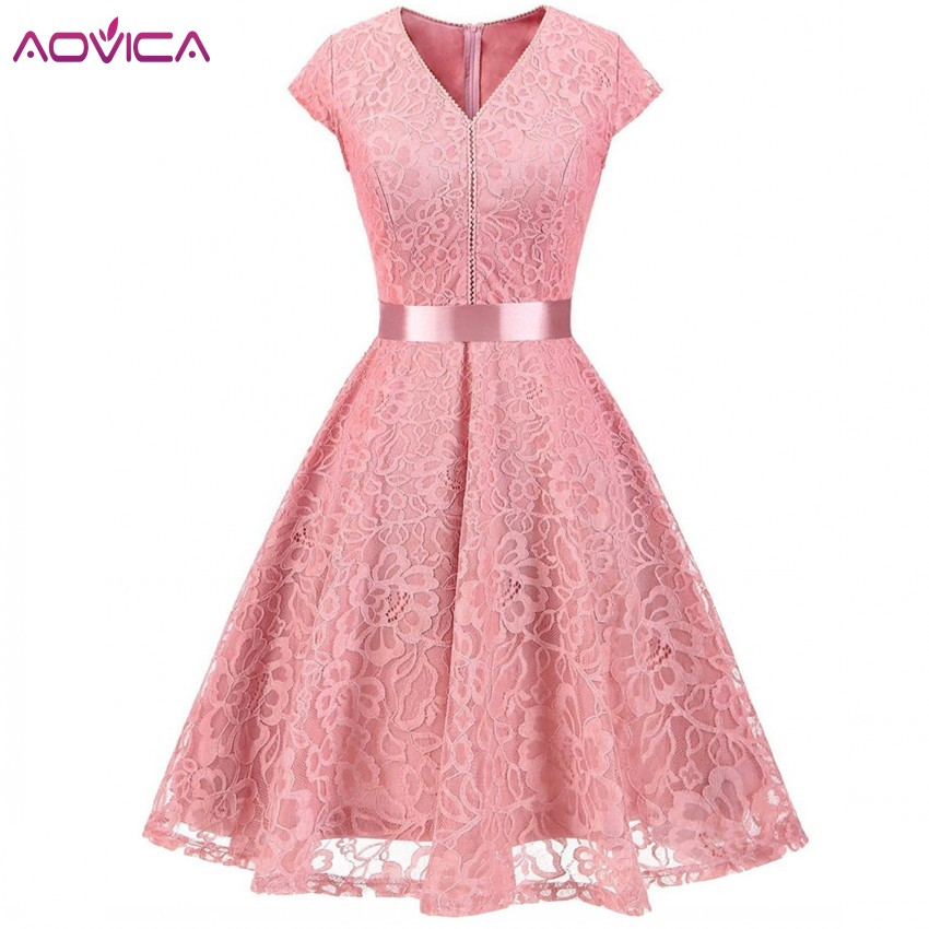 Aovica Lace Patchwork Women Vintage Dress Spring Summer Cap Sleeve Pin Up Rockabilly Retro Robe Female Party Vestidos