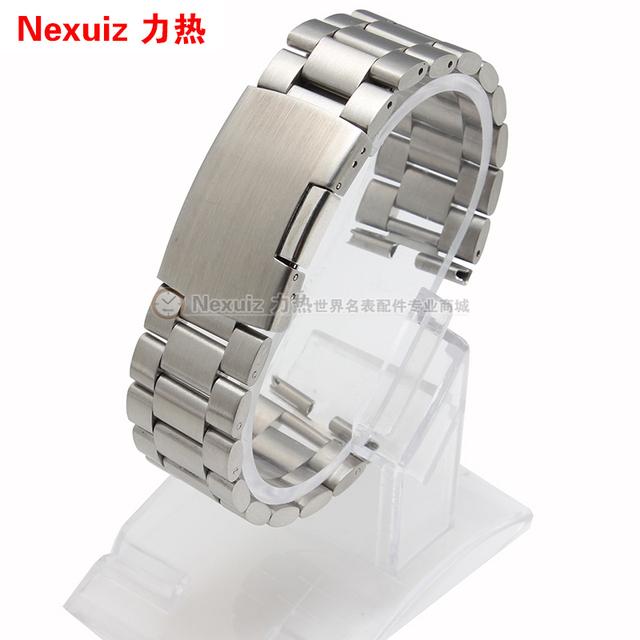 Mercancías de la promoción correas de Reloj, correa de reloj de acero inoxidable pulseras de plata negro 22mm accesorios moto 360 correa de reloj de los hombres