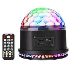 Rgb Mp3 kryształu magiczna kula aktywowane dźwiękiem światła DJ-skie Mini obrotowy Strobe światła sceniczne z pilot zdalnego sterowania do domu Party prezent