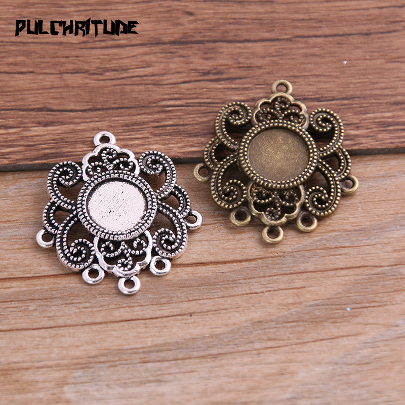 PULCHRITUDE 6pcs/lot 10mm Inner Size Two Color Fame Style Flowers Round Cabochon Connector + Glass Base Setting Charms Pendant
