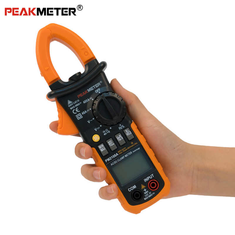 Official PEAKMETER PM2108A Digital AC DC Clamp Meter 4000 Counts Capacitance frequency Resistance Earth Tester Multimeter