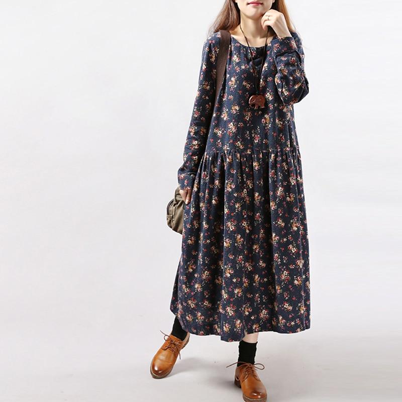 Осенние платья для женщин, длинное платье с цветочным принтом, длиной до щиколотки, с длинным рукавом, свободное платье большого размера, пл...