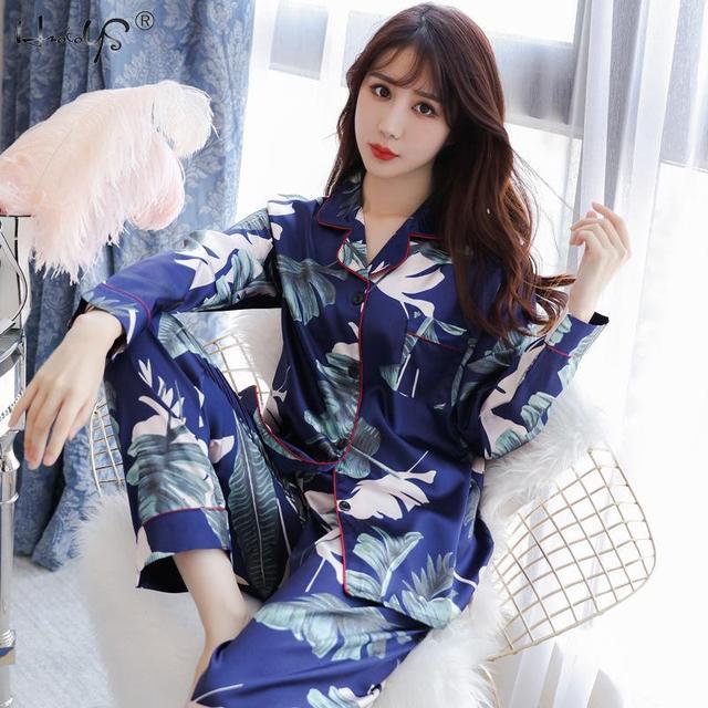 Plus Size M 5XL Pyjamas Autumn Winter Women Silk Satin Tops +Long Pants Pajamas Set NightSuit Female Sleepwear Sets Night Wear
