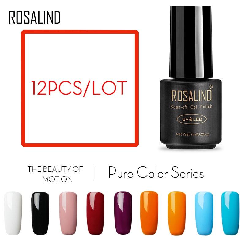 (Choose 12)ROSALIND Gel Nail Polish 7ML Balck bottle 58 Pure Colors For Choose Semi Permanent UV LED Lamp Gel Lacquer Nail Art