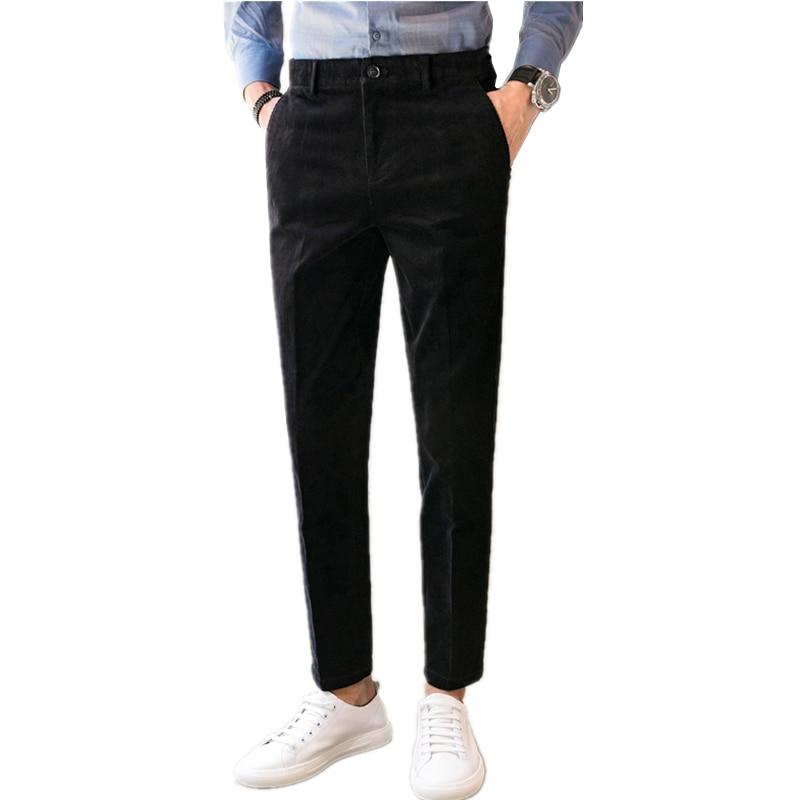 28-36 Tessuto Di Velluto A Coste Degli Uomini Della Mutanda Di Affari Degli Uomini Casuali Dei Pantaloni Del Vestito Di Pantaloni Di Colore Puro Mens Slim Fit