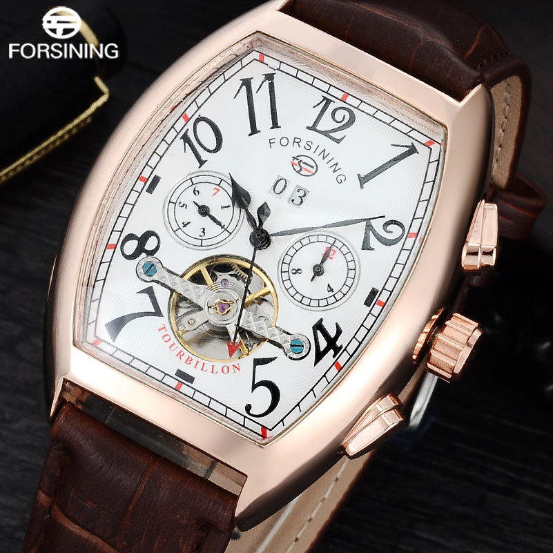 FORSINING Brand Luxury Mechanical Watch Men Tourbillon Automatic Wristwatches Leather Band Auto-Calendar Clock Relogio Masculino