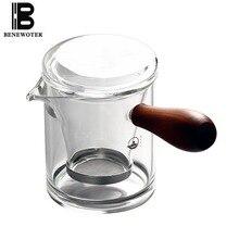 (Can Be Burned) 230ml Handmade Japanese Borosilicate Heat Resistant Glass Teapot Side Handgrip Flower Black Tea Pot Drinkware