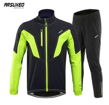 ARSUXEO Thermal Cycling Jacket Winter Warm Up Fleece Bicycle Clothing Windproof Running Sports Coat Pants Set MTB Bike Jersey цена и фото