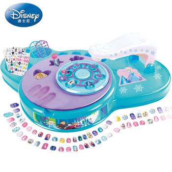Disney Pretend Play Beauty  Fashion Toys Frozen Princess Manicure Set Tear Tattoo Nail Sticker Little Girl Toy Birthday Gift let s pretend sticker activity my princess castle